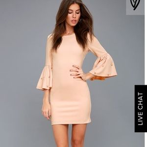 Lulu's Dream Blush Pink Pearl Sleeve bodycon dress